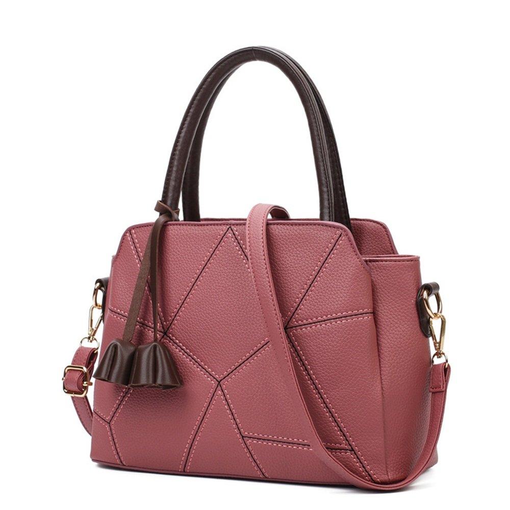 大容量PU三つ折りステッチハンドバッグ、ブラック、ピンク (色 : ピンク) B07K56V9K9 ピンク