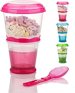 Cereal On the Go Cups Travel-To-Go-Food-Containers Storage with Spoon Breakfast Drink-Cups-Portable (Pink)