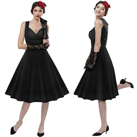 ZAFUL Vintage Vestidos Años 50 Retro Audrey Hepburn Falda Plisada Vestido de Noche Fiesta de Coctel sin Mangas Cuello V Moda 3XL: Amazon.es: Ropa y ...