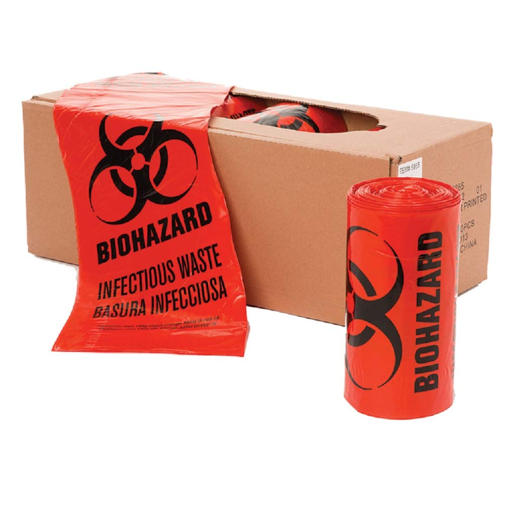 APQ Pack of 250 Open Ended Biohazard Liners, Red 24 x 23. Disposable LLDPE bags 24x23, 1.3 mil. Pre-printed Poly bags for packing and disposing Medical Waste. Plastic Bags for Healthcare Applications. by APQ Supply