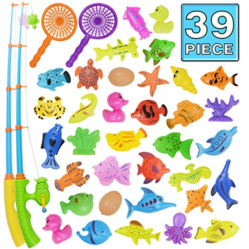 Fishing Toy,39 Piece Magnetic Fish Bath Toy Set,Original Color Waterproof Floating Bathtub Toy Fishing Playsets Learning Education Toys,Outdoor Fun Fishing Game Great Gift For Boys Girls Kids Toddlers