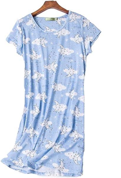 Camisón Mujer Verano Camisones de algodón Manga Corta Ropa de Dormir Pijamas Vestir Camisónes Elegante Grande Talla: Amazon.es: Ropa y accesorios