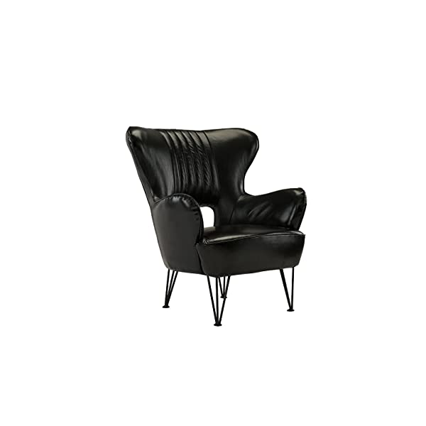 Modern Leather Accent Armchair with Shelter Style Living Room Chair (Black)