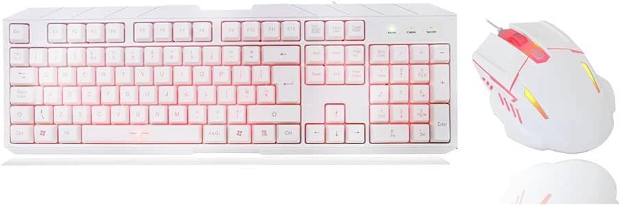 CiT KBMS-CIT-Storm - Pack de Teclado retroiluminado LED y ratón, Color Blanco y Rojo: Amazon.es: Informática