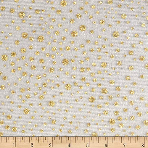 Expo International Glitter Dots Tulle White/Gold Fabric By The Yard