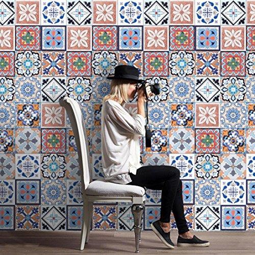 DIY Tile Stickers, Indexp 25Pcs Retro Waterproof Self Adhesive Kitchen Bathroom Home Art Wall Floor Decal (Multi A)