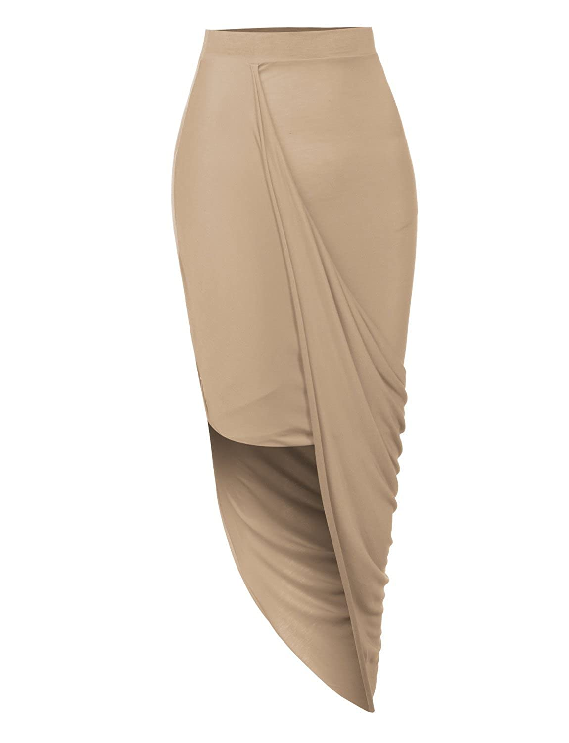 LE3NO Womens Fitted Draped Asymmetrical Hi Low Skirt with Stretch L3NWB1607