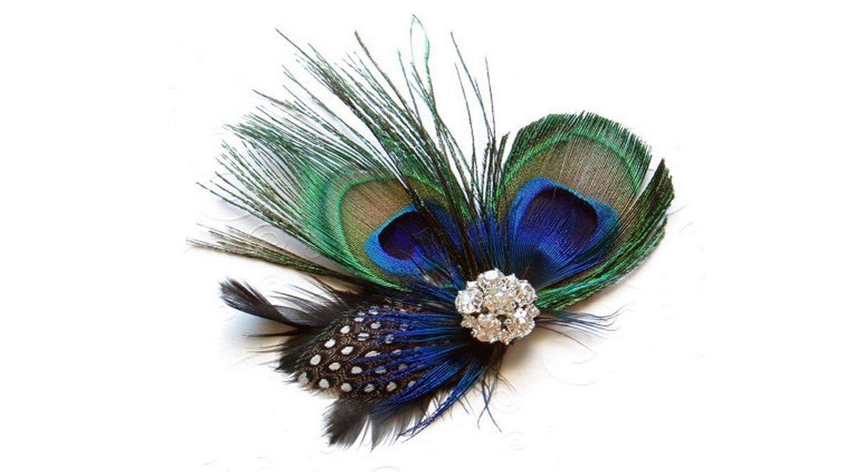 Primi moda niñas, diseño de pluma de pavo real pelo Clip