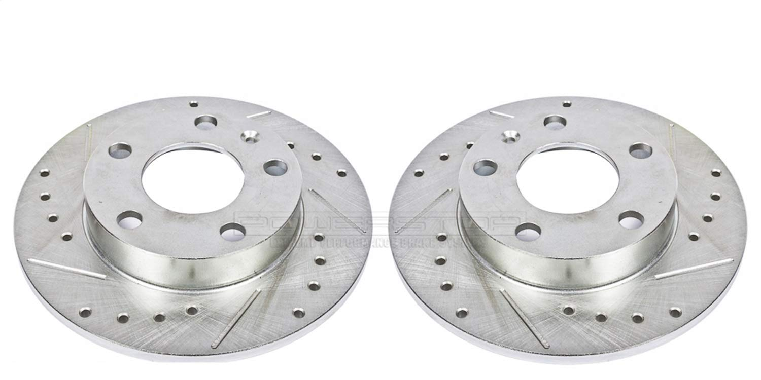 Power Stop EBR655XPR Rear Evolution Drilled /& Slotted Rotor Pair