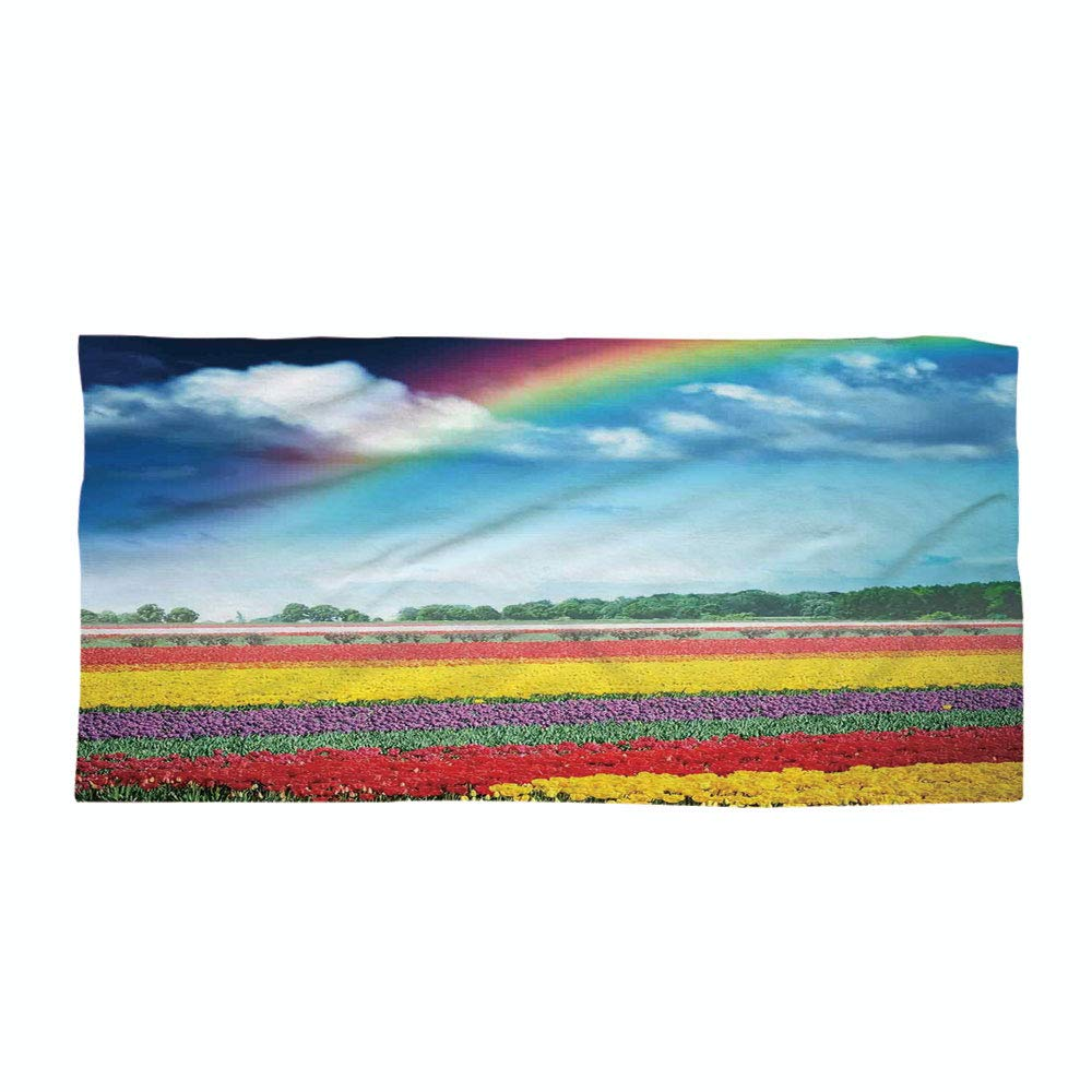Cotton Microfiber Beach Towel,Country Decor,Rainbow Over Multicolor Tulip Field Blooms Distant Forest at Spring Time Holland,for Kids, Teens, and Adults