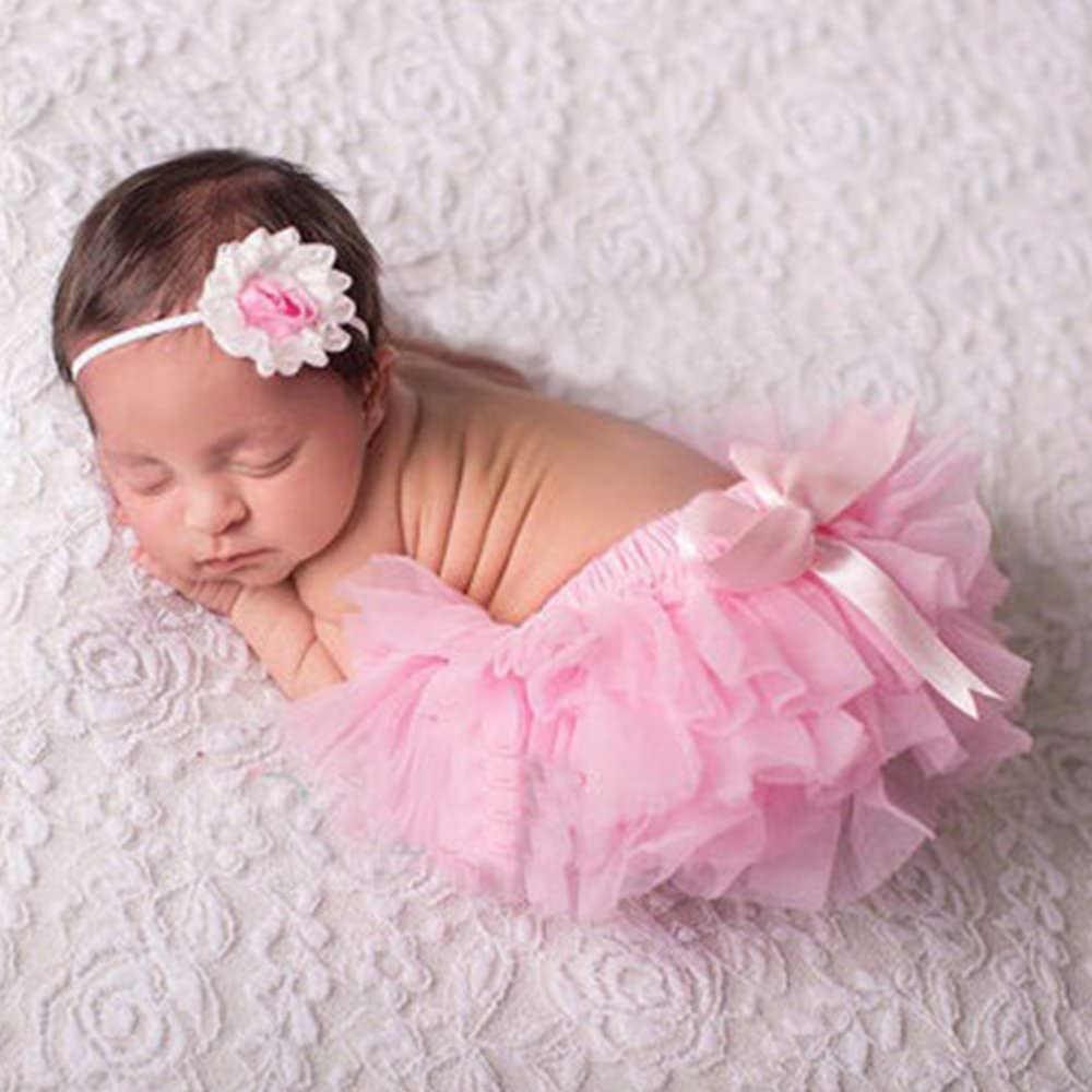 Luckyauction Baby Infant Girls Ruffle Skirts Panties Briefs Bloomer Diaper Cover with Flower Headband