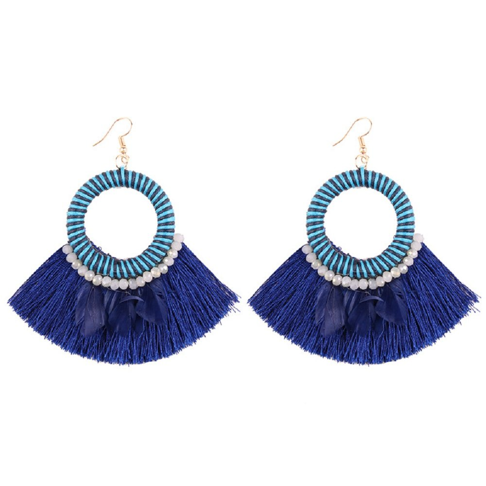Choose Your Color! GemStorm Fashion Feather Tassel Fishhook Earrings
