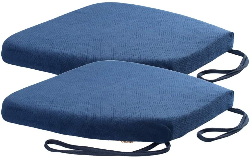 Juego de 2 cojines acolchados para silla de oficina, silla de ruedas, para cocina, jardín, comedor, silla de oficina o coche, azul, 42x44x4cm
