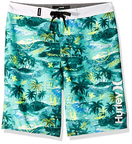 Hurley Boys' Toddler Board Shorts, Tropical Twist Doodle Print, 4T