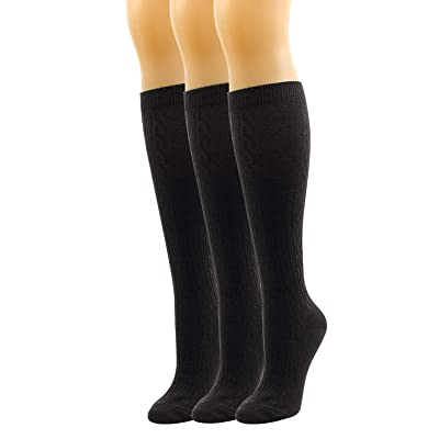 3 Pack Woemn Cable Ribbed Knee Socks Soft Classic Essential Stay Up Cotton Fashion Size 6-10 (3pair-Black(Cable)) at Amazon Women's Clothing store