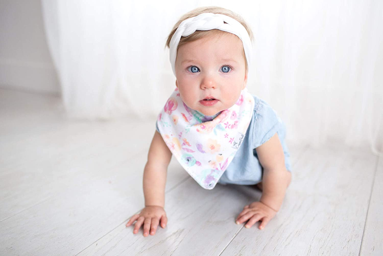 """Baby Bandana Drool Bibs for Drooling and Teething 4 Pack Gift Set for Girls /""""Bloom Set/"""" by Copper Pearl"""
