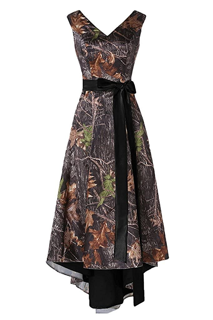 Black PrettyWish Asymmetrical Camo Prom Dress Wedding Party Dress DoubleNeck Sash PW16