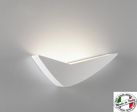 Applique led 12w 3000k design moderno ceramica bianca cristaly