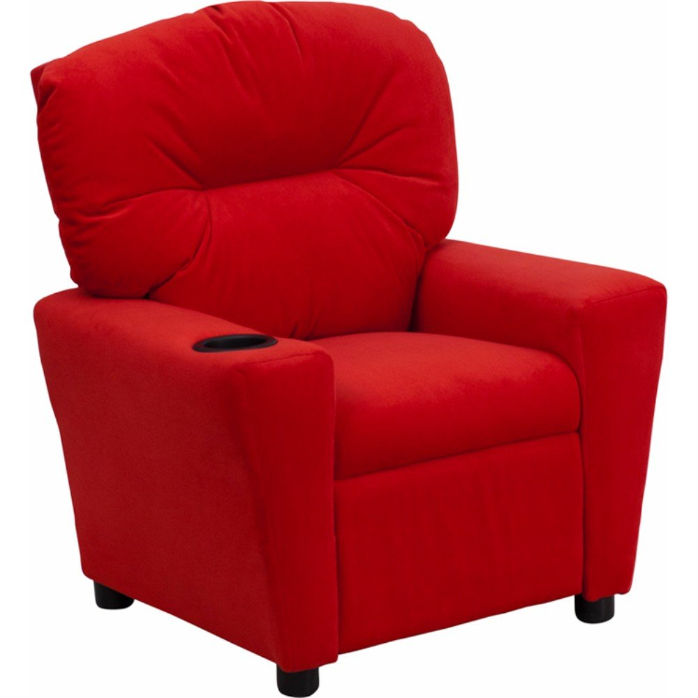 Offex Contemporary Microfiber Kids Recliner with Cup Holder, Red by Offex