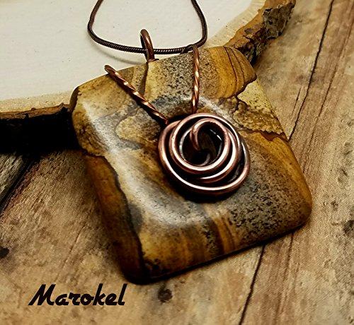 Oxidized Sand - Square Jasper Square Donut Necklace Oxidized Copper Wire Rosette