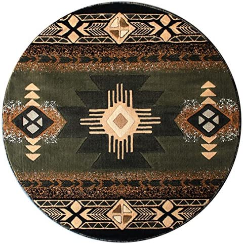South West Native American Round Area Rug 5 Feet X 5 Feet Green C318