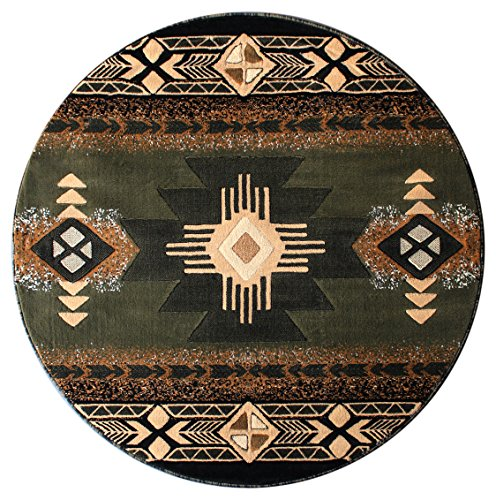 61sGhlw%2BROL - South West Area Rug Design Concord C318 Sage Green (4 Feet X 4 Feet) Round