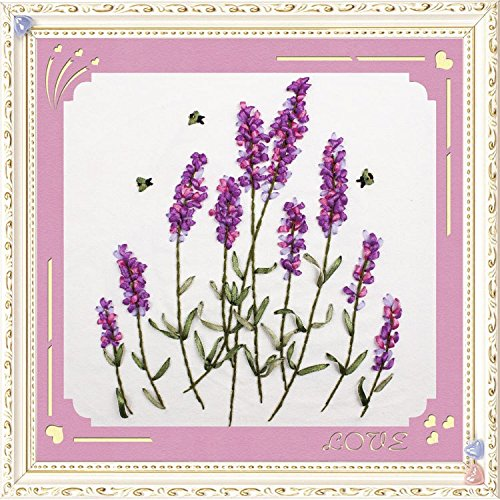 Ribbon embroidery Kit,Fanryn 3D Silk ribbon embroidery Lavender Flowers pattern design Cross Stitch Kit Embroidery for beginner DIY Handwork Home Decoration Wall Decor 30x30cm (No frame) (Fringe Embroidery Design)
