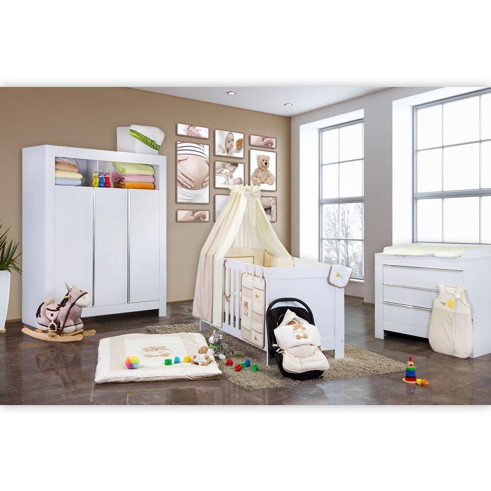 Babyzimmer Felix in weiss 19 tlg. mit 3 türigem Kl von Honey Bear in beige