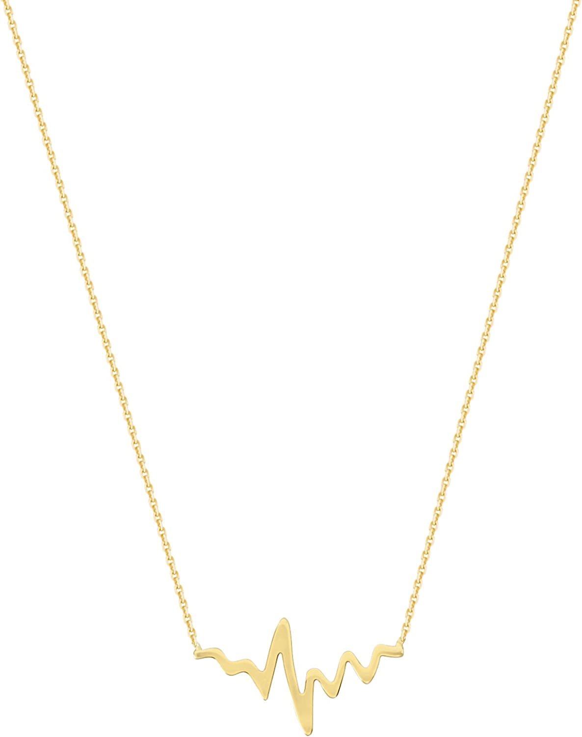 Birthday Gift Gold Heartbeat Necklace Solid Gold Heartbeat Cross Necklace 10K Solid Gold Heartbeat Necklace Mother\u2019s Day Gift