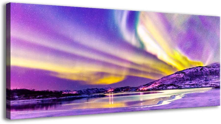 XF Aurora Borealis Purple Art Wall Pictures for Bedroom Decor Northern Lights Prints Paintings for Living Room Bedroom Office Kids Room Decorations (Purple, 20x40inx1)