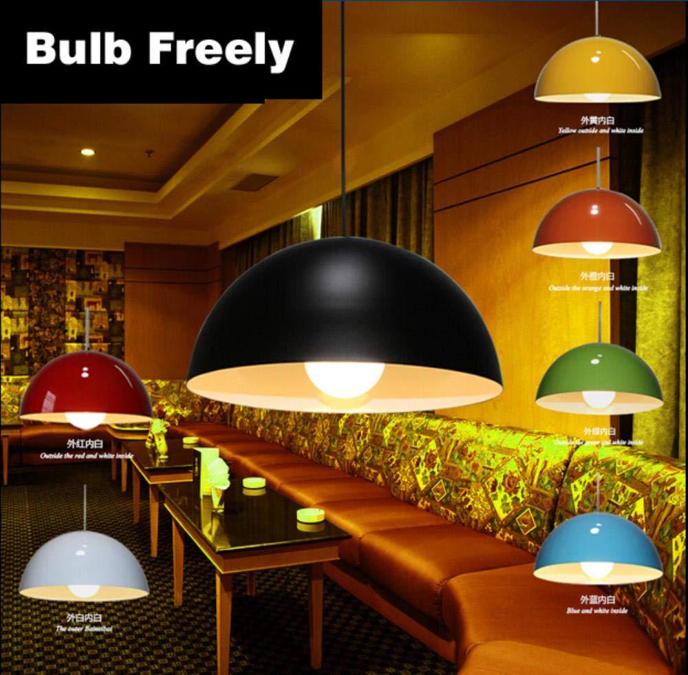 5151BuyWorld Lampe Bulbly Halbkreis Aluminium Single-Head Pendelleuchte Schwarz Weiß Rot MultiFarbe Einfache Art Und weiße hängendes Licht Top Qualität {36cm}