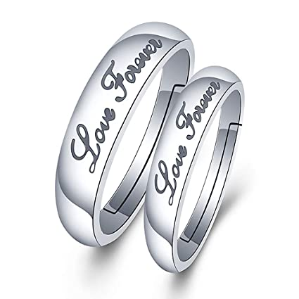 4f4a8a8757056 Amazon.com: GerTong 1 Pair Couple Opening Ring Stylish Shinning ...