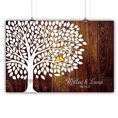 Personalized Wedding Tree Guest book Alternative Customized Poster, Print, Framed or Canvas, 200 Signatures Rustic Wood Background ()