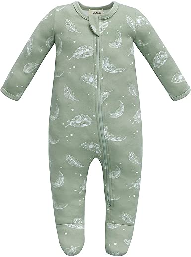 Long Sleeve Baby Boy and Girl Zip Front Romper Baby Organic Cotton Footless Sleep and Play