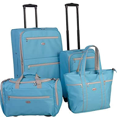 American Flyer Perfect 4 Piece Luggage Set (Turquoise)