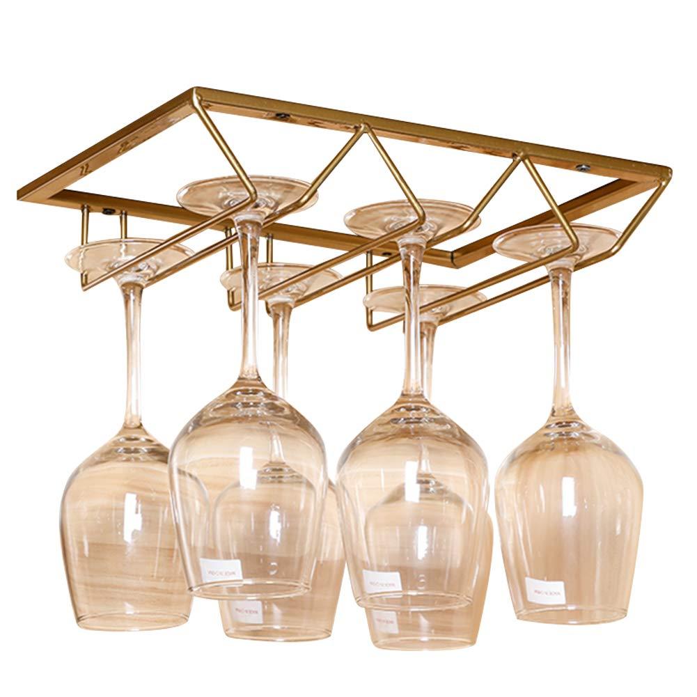 Lzttyee European Style Iron 3-slot Triangle Design Under Cabinet Stemware Rack Hanger Hanging Wine Glass Organizer Storage Holder (Gold) by Lzttyee