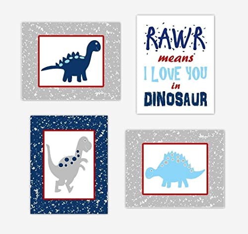 Amazon.com: Dinosaur Baby Boy Nursery Wall Art Prints Blue ...