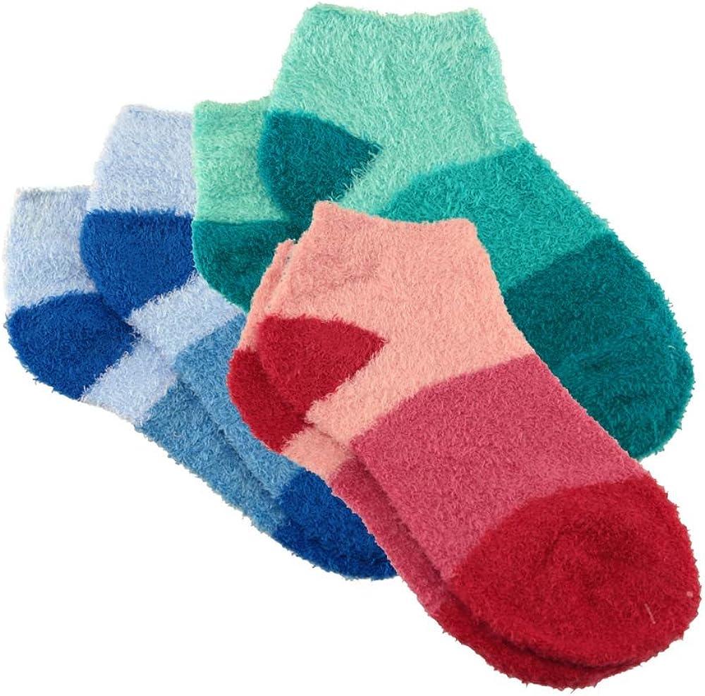BambooMN Women's Super Aloe Infused Fuzzy Nylon Socks: Clothing