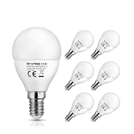 SHINE HAI Bombillas LED E14 P45, Blanco cálido 2700k 4.5W,350LM,AC