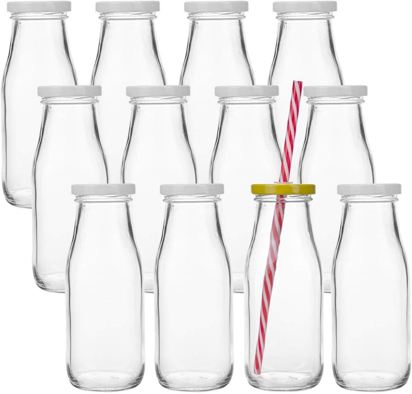 Lawei 12 unidades 325 ml botellas de leche reutilizables, botellas de lácteos vintage con pajitas y tapas de rosca de metal