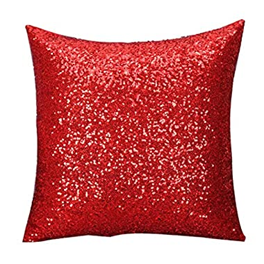 Laimeng Solid Color Glitter Sequins Throw Pillow Case ( Red)
