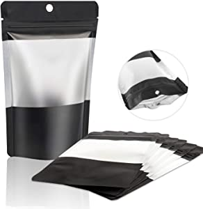 "100 Pcs Mylar Ziplock Bag Smell Proof Food Storage Bags with Clear Window Resealable Mylar Bags Foil Pouch Bag Flat Ziplock Bag, Black (8.5"" x 5.5"" big size)"