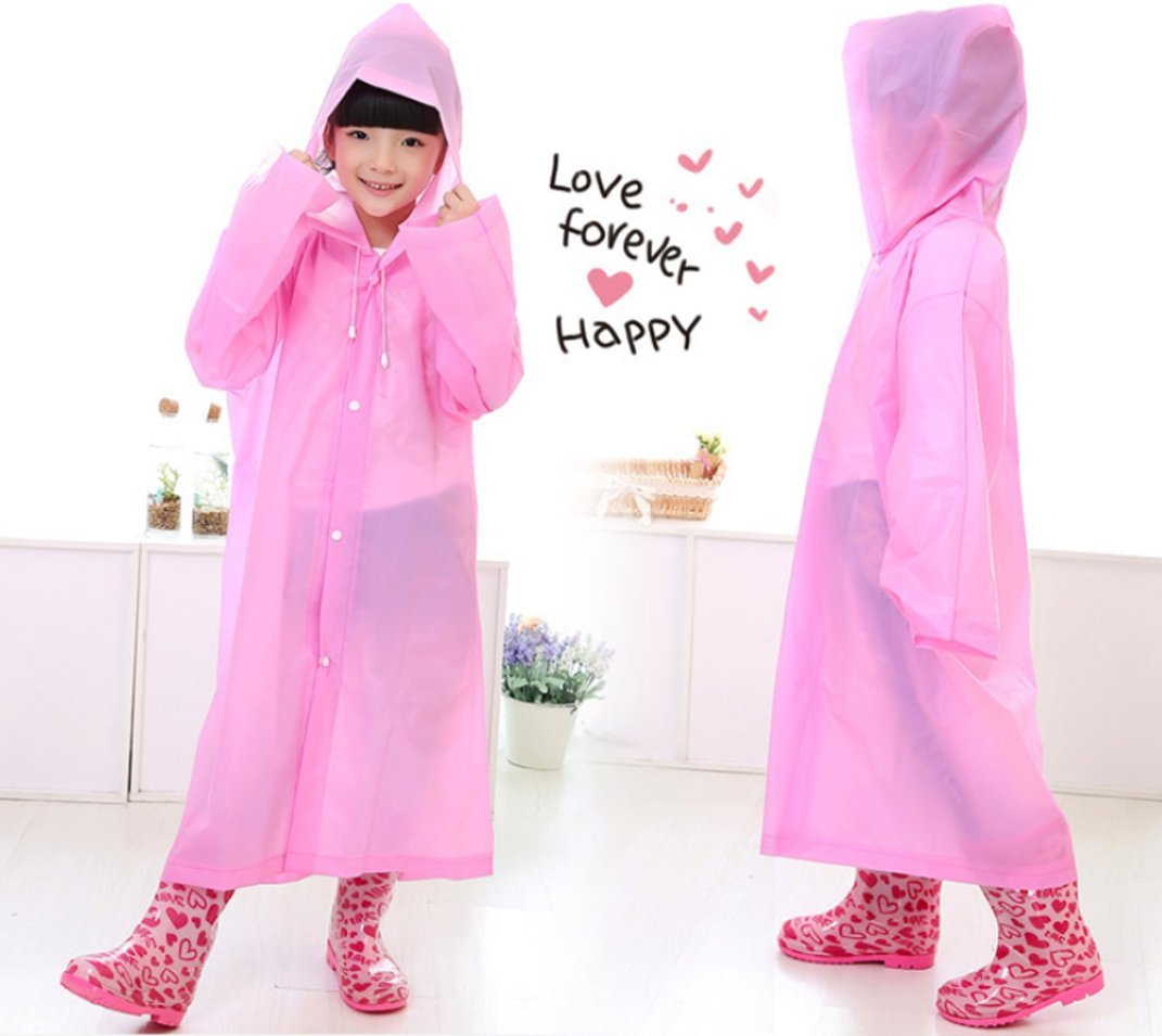 Boys Girl Children Hooded Jacket Rainsuit Rain Poncho Raincoat Long Rainwear