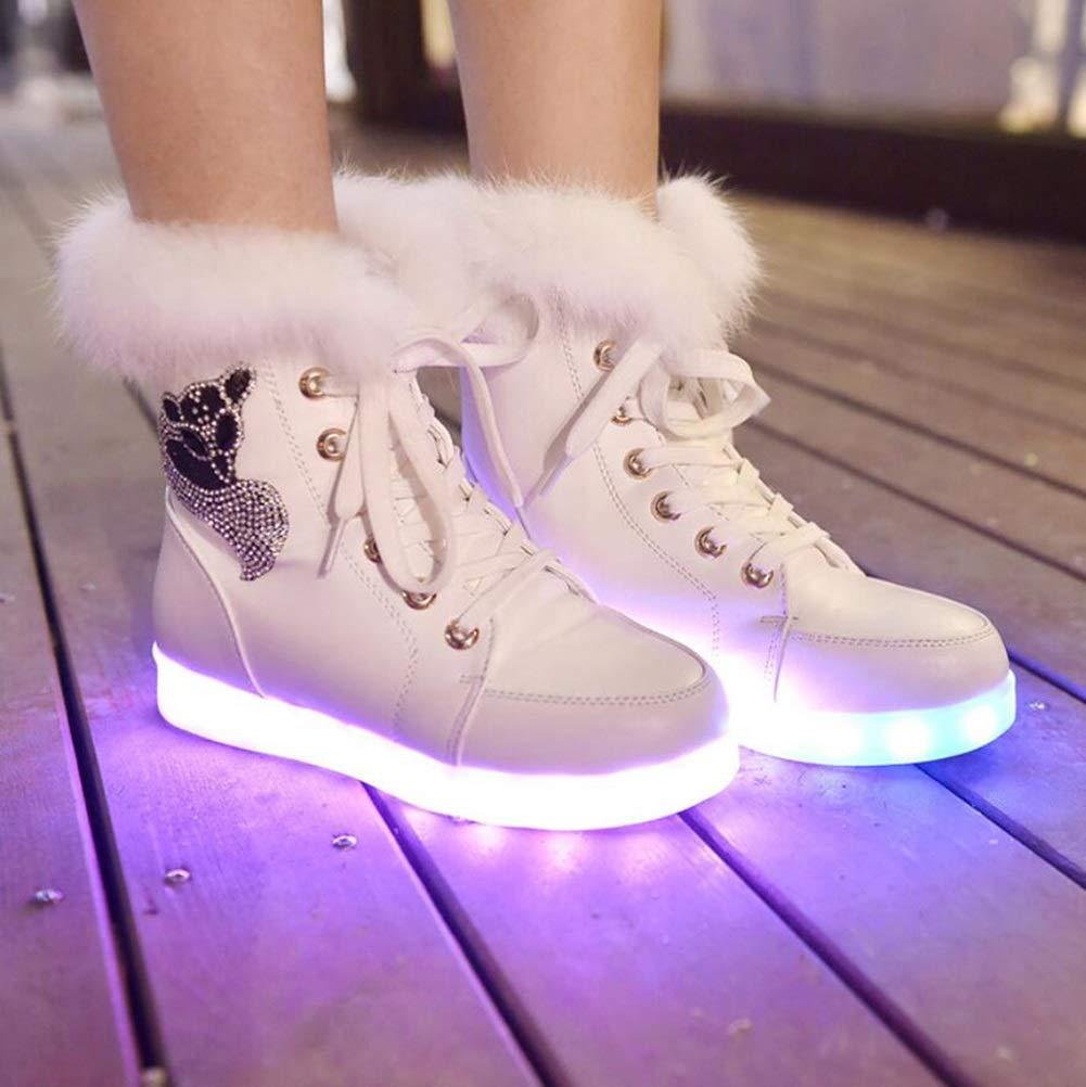 MhC Damenschuhe PU (Polyurethan) LED Schuhe Herbst/Winter Komfort/Neuheit / Leuchten Schuhe Wohnungen Flache Ferse Runde Kappe Funkelnden Glitter/Lace-up