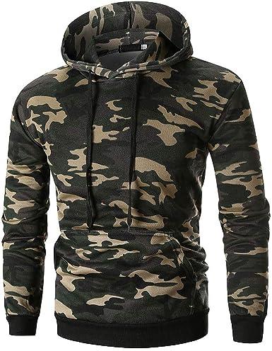 JUSHINI Hommes Sweatshirts Sweat A Capuche Camouflage