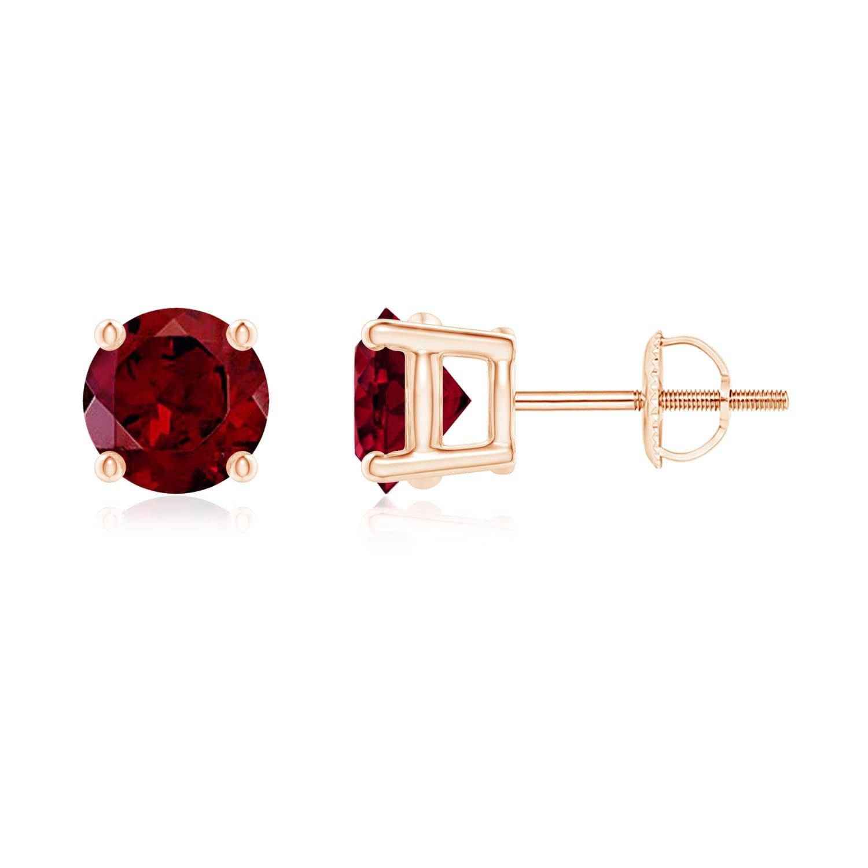 Basket-Set Round Garnet Stud Earrings in 14K Rose Gold (6mm Garnet)