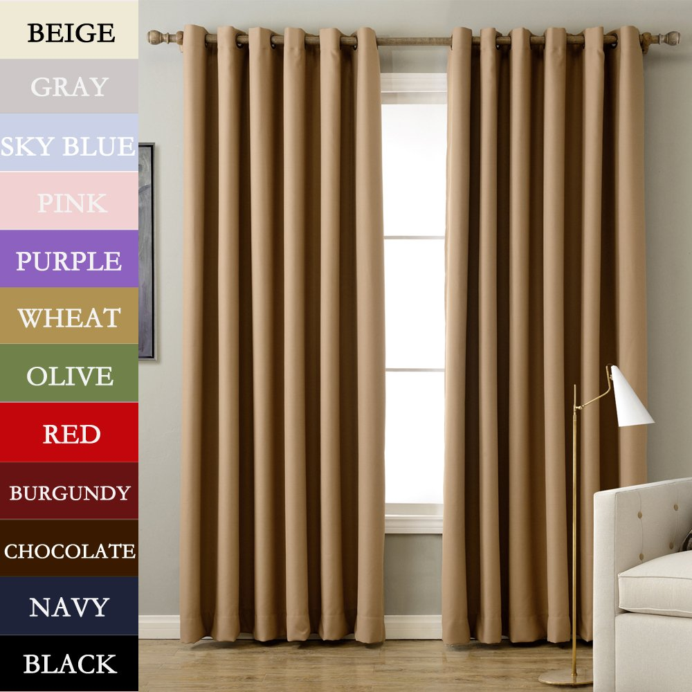 TWOPAGES® Solid Antique Bronze Grommet Polyester Drapes Wheat Blackout Curtains