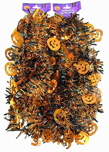 (9' Decorative Holographic Orange Pumpkin Halloween Tinsel Garland – 2 pc Total 18)