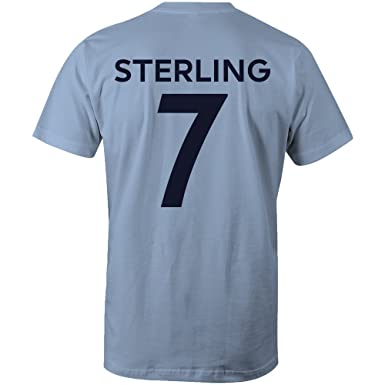 new style 2ee4a 1d592 Raheem Sterling 7 Club Player Style Kids T-Shirt Sky/Navy ...