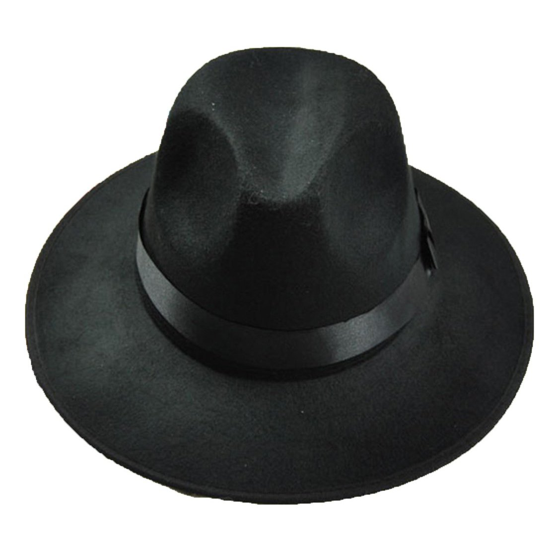 SODIAL(R)Bombetta Floppy Cloche fiocco cappello di feltro di stile di Fedora